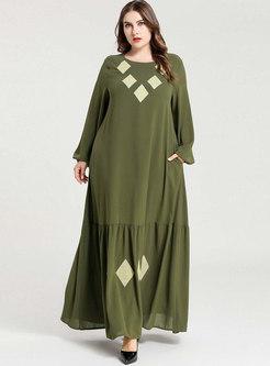 Geometric Embroidered Plus Size Maxi Dress