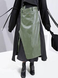 High Waisted Asymmetric Patchwork Skirt