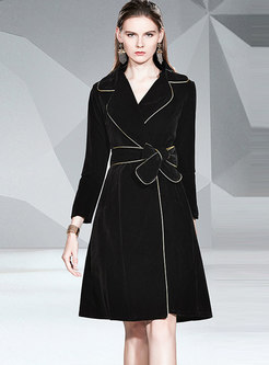 Notched Waist A Line Coat With Belt