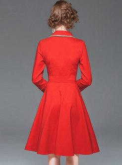 Notched Color-blocked A Line Dress