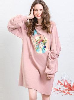 Lantern Sleeve Print Pleated Loose Hooded Sweatshirt Dress