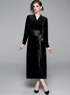 V-neck Waist Velvet Maxi Dress With Belt