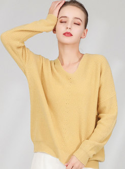 Solid Color V-neck Loose Wool Sweater