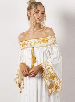 Off Shoulder Flare Sleeve Embroidered Maxi Dress