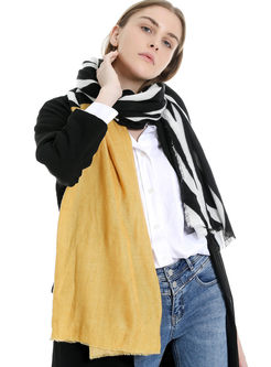 Color-blocked Print Faux Cashmere Scarf