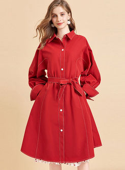 Red Lapel Single-breasted Trench Coat
