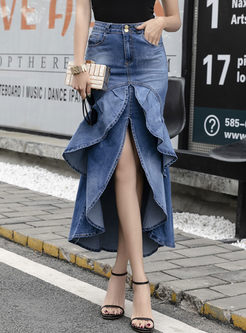 High Waisted Asymmetric Denim Peplum Skirt