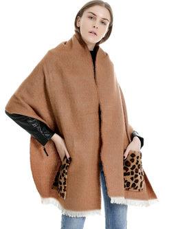 Leopard Pockets Faux Cashmere Scarf