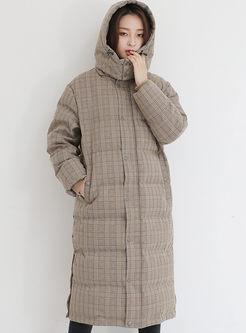 Hooded Long Sleeve Plaid Puffer Coat