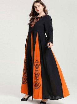 Color-blocked Plus Size A Line Maxi Dress