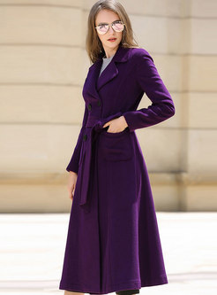 Solid Color A Line Wool Blend Peacoat