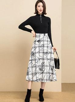 High Waisted Plaid Print Thick A Line Skirt
