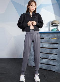 Zipper Letter Patchwork Openwork Short Yoga Jacket