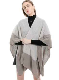 Color-blocked Cloak Faux Wool Scarf