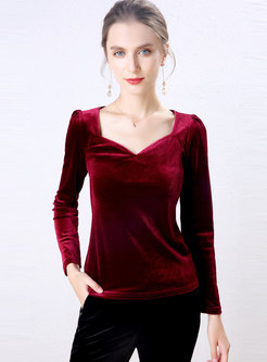 Solid Color V-neck Puff Sleeve Velvet T-shirt