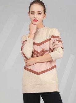Crew Neck Pullover Print Wool Sweater