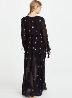 V-neck Long Sleeve Star Print Maxi Dress