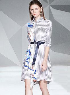 Lapel Striped Print Patchwork Shirt Dress