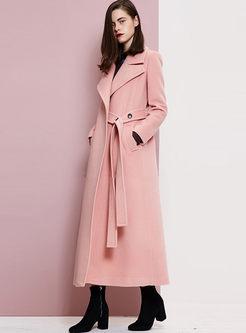 Pink Notched Long Wool Coat
