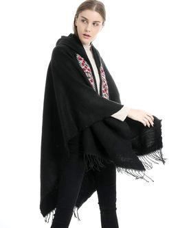 Embroidered Faux Cashmere Fringed Scarf