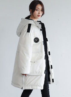 White Hooded Loose Orolay Down Coat