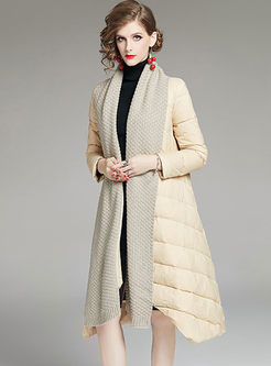 V-neck Sweater Patchwork A Line Puffer Coat
