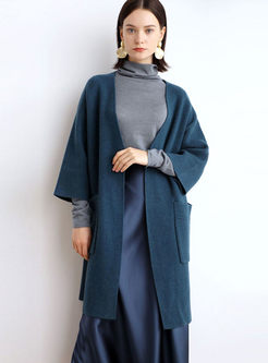 Solid Color V-neck Loose Sweater Coat