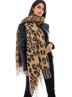 Leopard Fringed Faux Cashmere Scarf