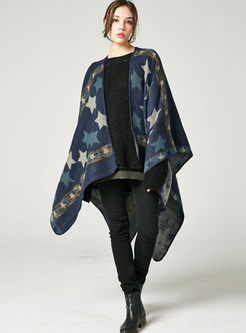 Color-blocked Star Print Thick Scarf