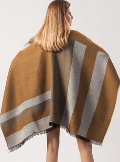 Color-blocked Fringed Thicken Scarf