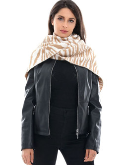 Color-blocked Thick Faux Wool Scarf