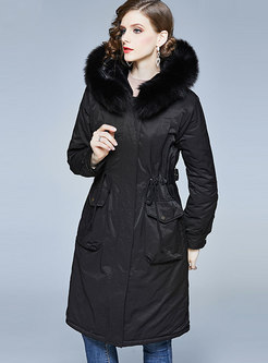 Solid Color Waist Hooded Orolay Coat With Drawcord