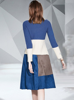 Color Block Patchwork Knitted Suit Dress