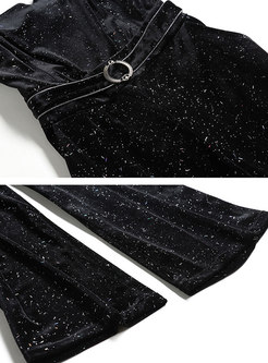 High Waisted Sequin Pant Suits