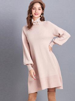 Crew Neck Lantern Sleeve Loose Sweater Dress