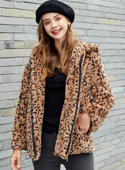 Leopard Hooded Zipper Teddy Bear Jacket