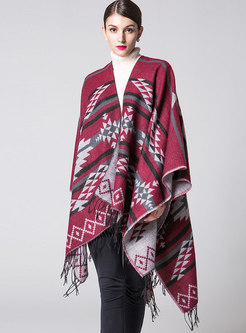 Geometric Color-blocked Fringed Thick Scarf