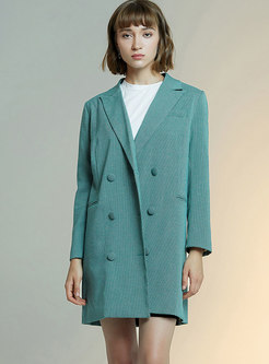 Notched Plaid Trench Coat With Belt