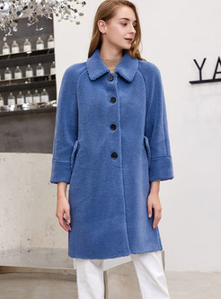 Solid Color Straight Loose Teddy Coat