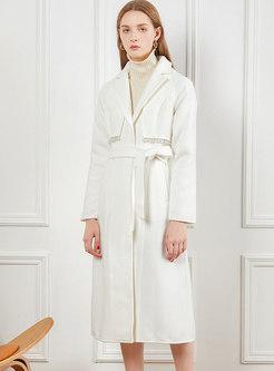 Beading A Line Wool Blend Coat