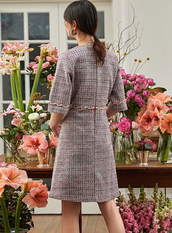 Crew Neck Long Sleeve Tweed Skater Dress