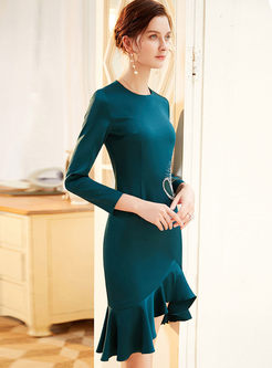 Long Sleeve Asymmetric Peplum Bodycon Dress