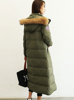 Hooded Long Puffer Coat With Fur Collar
