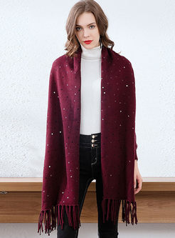 V-neck Wool Sequin Cloak Cardigan