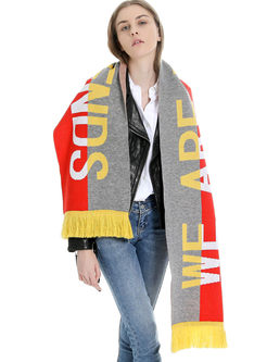 Letter Print Color-block Fringed Scarf
