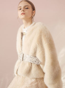 Apricot Loose Short Waisted Faux Fur Coat