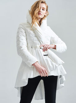 Hooded A Line Puffer Coat With Belt