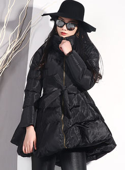 Black Turtleneck A Line Puffer Coat