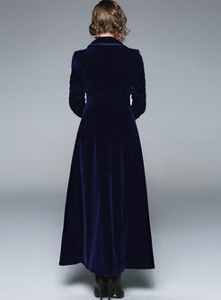 Notched Long Sleeve Velvet Long Coat