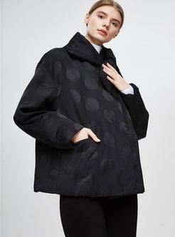 Black Bowknot Polka Dot Down Coat